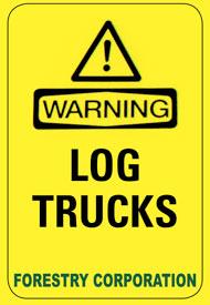 Log trucks warning sign