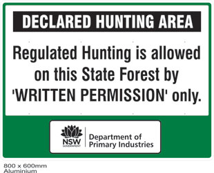 State forest declared hunting area sign