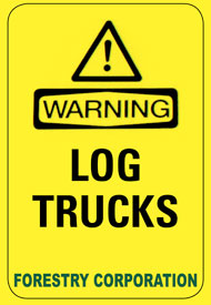 Log trucks warning sign